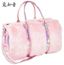 2019 New Soft Rainbow Handbags Faux Fur Women Tote Bags Large Capacity Laser Symphony Pink Shoulder Boston Bag High Quality