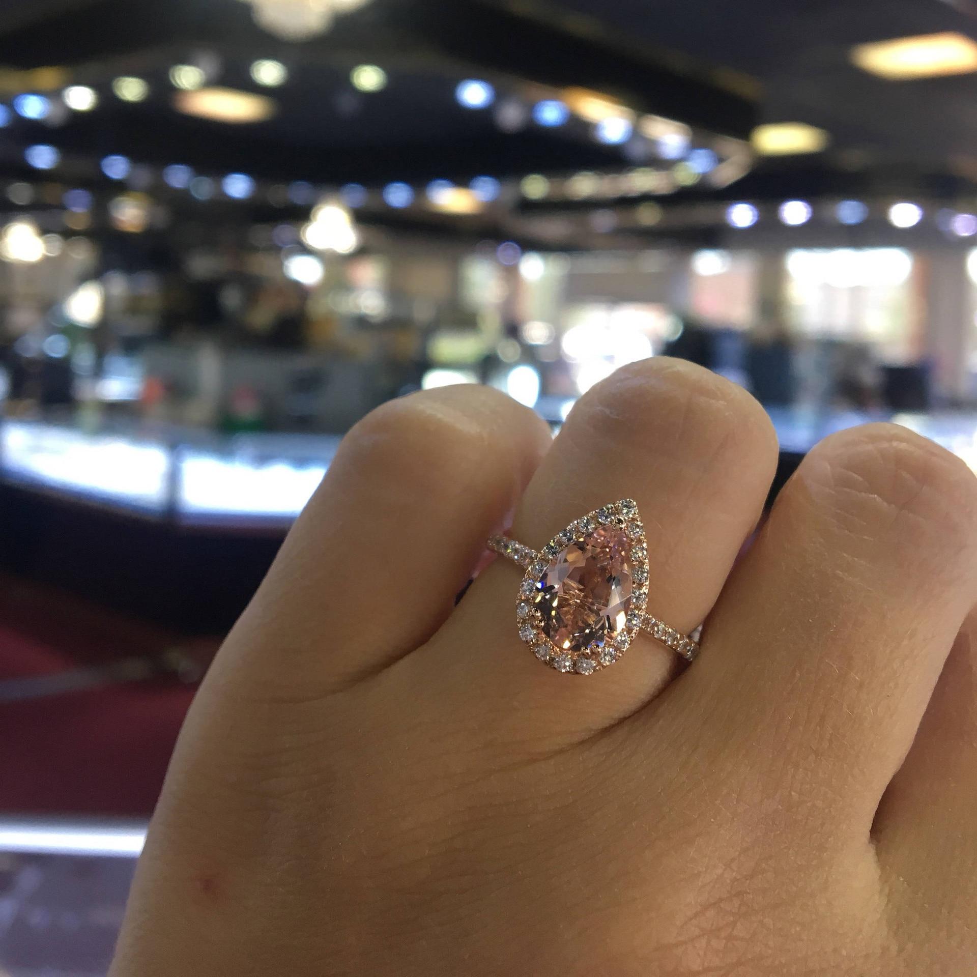 Anillo de diamante de oro rosa de 18k Bague Jaune Bizuteria Anillos de piedras preciosas para mujeres bisutería femme gema diamante anillo de oro anel