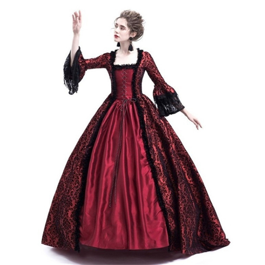 Woman Medieval Princess Ball Gown Halloween Cosplay Costumes Carnival Palace Court Dress Women Vintage Wedding Evening Dresses