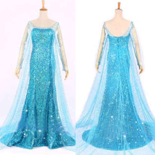 Queen Princess Strape ผู้ใหญ่ผู้หญิงชีฟองค็อกเทลชุดยาวชุด Elsa ชุด