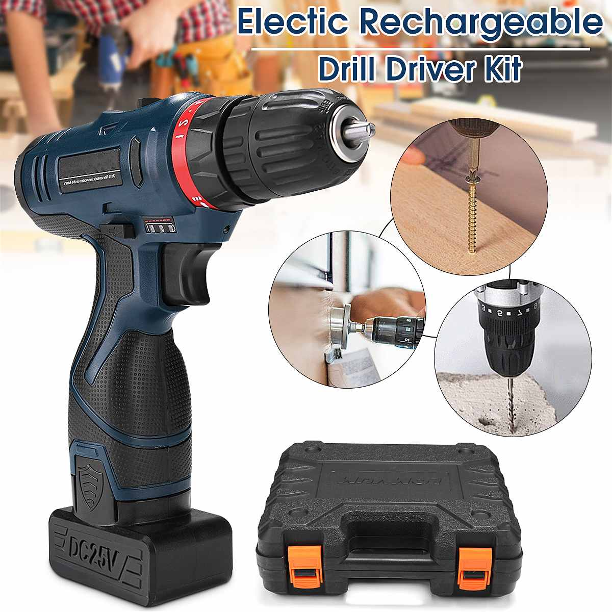 25V Li-ion Cordless Electric Hammer Power Drill Driver Hand Kit 2 Speed Led Waterproof Mini Drill Cordless Drill Power Tools25V Li-ion Cordless Electric Hammer Power Drill Driver Hand Kit 2 Speed Led Waterproof Mini Drill Cordless Drill Power Tools