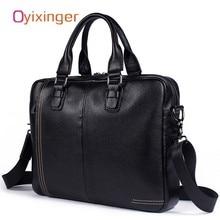 OYIXINGER Fashion Men Genuine Leather Briefcase Bag Men's Shoulder Soft Bags Handbag Male Bags Brief Cases Maleta De Ferramenta