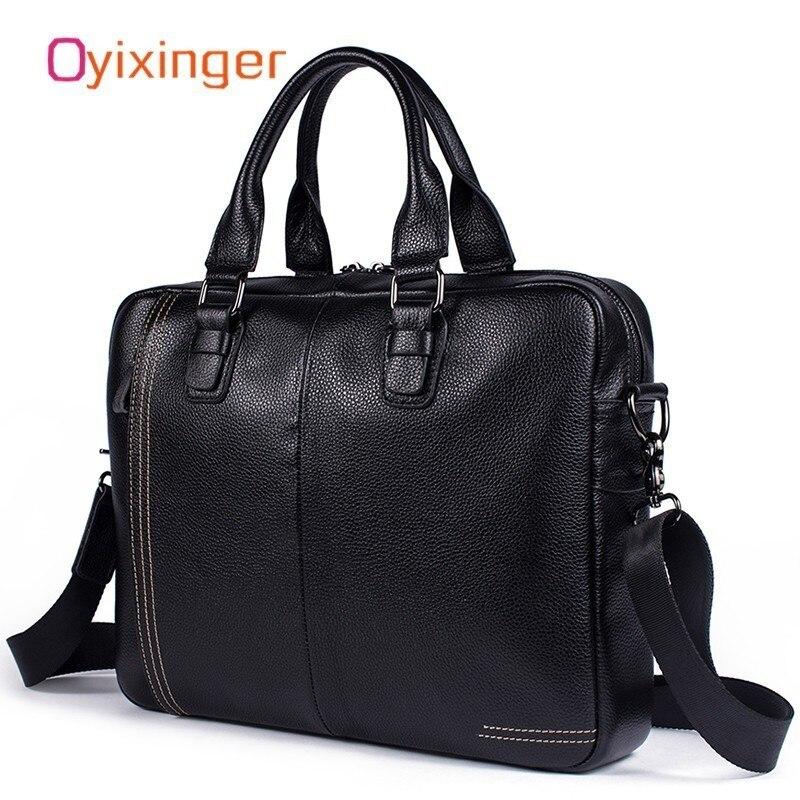 VOLASSS Fashion Men Genuine Leather Briefcase Bag Men's Shoulder Soft Bags Handbag Male Bags Brief Cases Maleta De Ferramenta