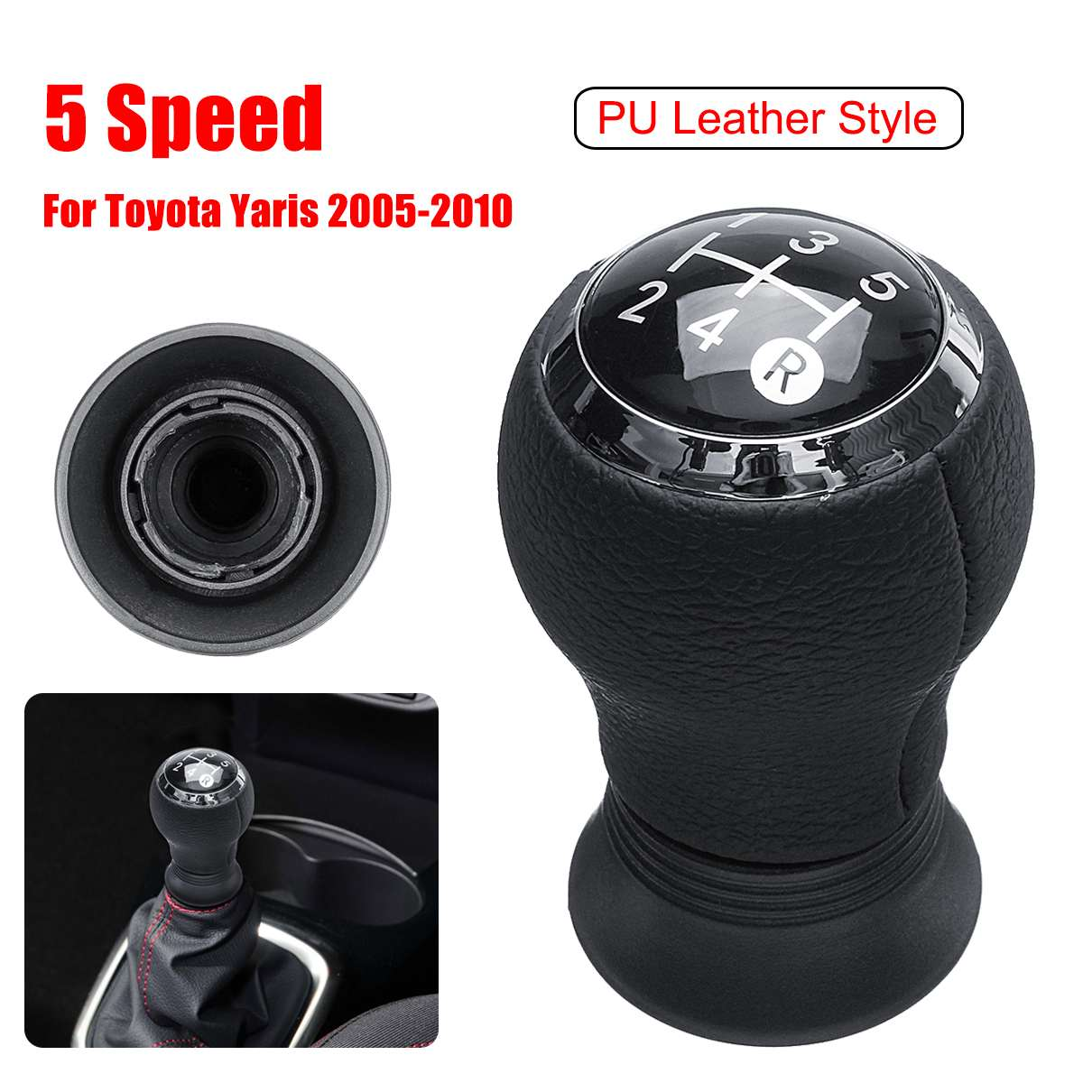 5 Speed Gear Shift Shifter Knob PU Leather For Toyota Yaris Manual ...