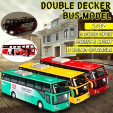 1:32 Double-decker Alloy Plastic Bus Car Model Metal Diecast Voice Alloy Acoustic Light Pull Back Toy For kids Children Gift(China)