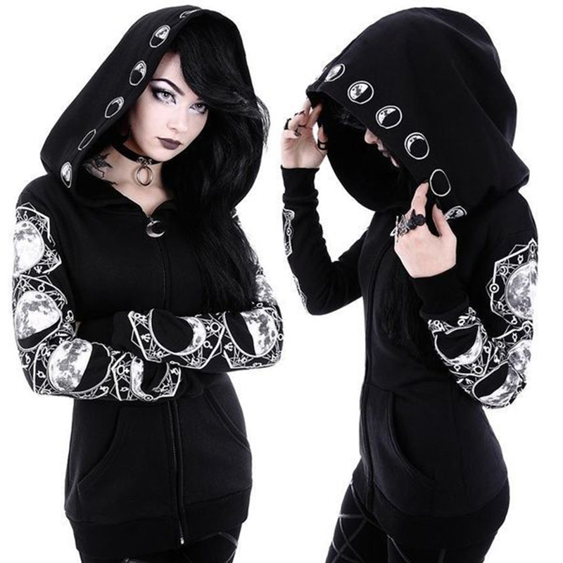 Women's Coat Black Gothic Punk Sweatshirt Long Sleeve Hoodie Cosplay Costume Apparel Cool Fashion Coat