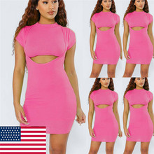 Sexy womens summer hollow out tight-fitting hip cocktail short pink mini dress ladies sheath tight dresses