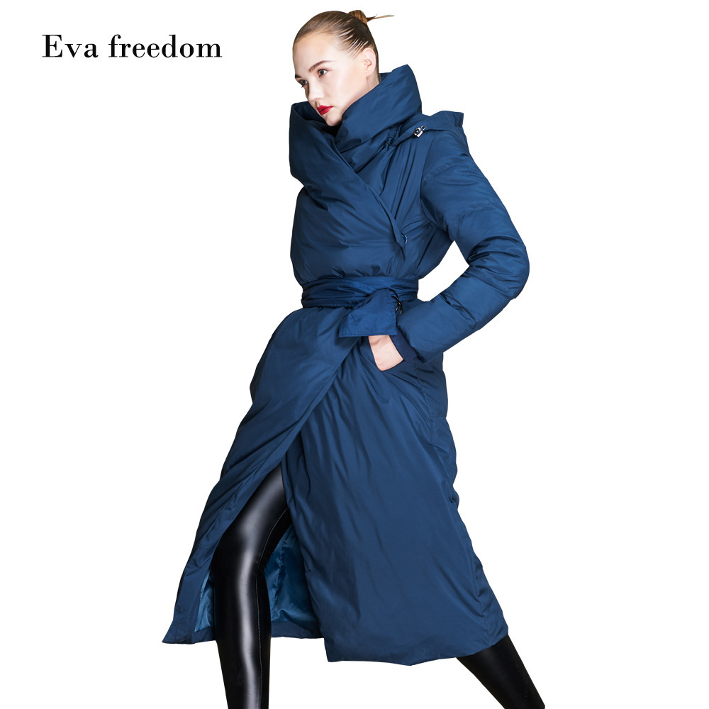 Eva Freedom Brands 2018 Winter Thick Down Coat Women's Fashion Long Down Jacket Woman Hooded Woman Oversize Down Jacket Ef18058