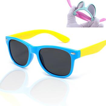 XojoX okulary przeciwsłoneczne dla dzieci spolaryzowane moda dla dzieci okulary przeciwsłoneczne ultra-miękkie silikonowe bezpieczeństwo chłopcy dziewczęta gogle dzieci okulary UV400 tanie i dobre opinie Dziewczyny Z tworzywa sztucznego 41mm TYJ0916 55mm