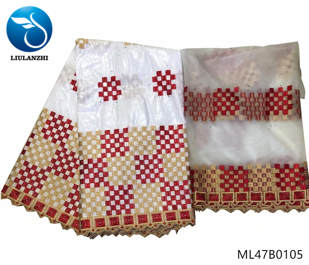 LIULANZHI white african lace fabrics New arrival embroidery bazin lace fabric with stones brocade lace fabric