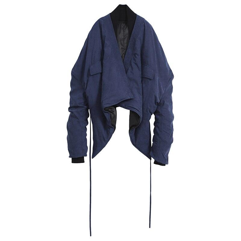 Bleu Foncé Mode L186 Grande Cordon Coton Taille À Manches Printemps Nouveau Femmes Veste 2019 Matelassé Hiver manteau col Navy Blue V Longues zMUSVpq