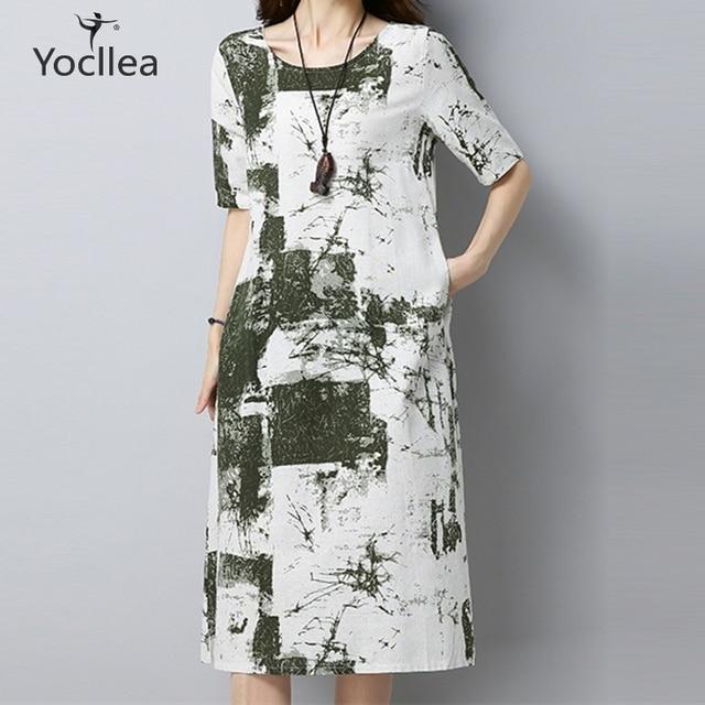 US $12.6 18% OFF|3 colors Fashion Short sleeve Dress Loose Casual plus size  Women Cotton linen Print Beach Summer dresses Vestidos femme ZY237-in ...