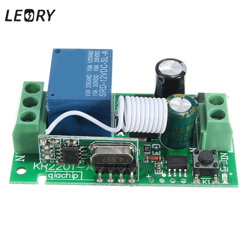 LEORY <font><b>1Ch</b></font> Wireless Relay <font><b>RF</b></font> 220V Remote Control Switch DC 12V 10A 315/433MHz Smart Home Heterodyne Transmitter Receiver Quality image