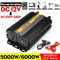 5000W/6000W Peaks Inverter 12V 220V USB Auto Modified Sine Wave Voltage Transformer Solar Power Inverter Converter Car Charge