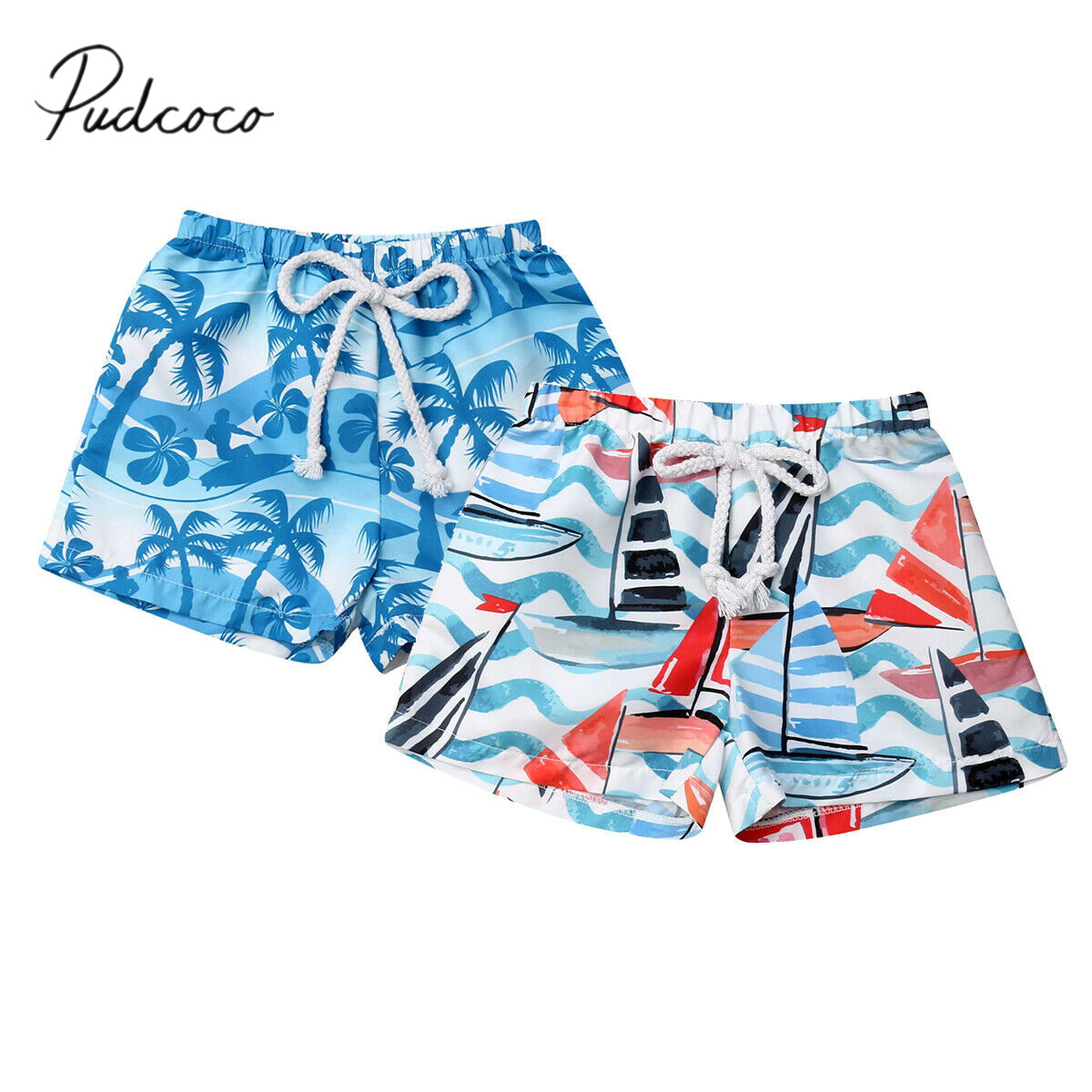 Hawaiian Infant Toddler Kid Baby Boys Elastic Waistband   Short   Pants Summer Beach   Shorts   Sailboat Tree Print 6M-4T