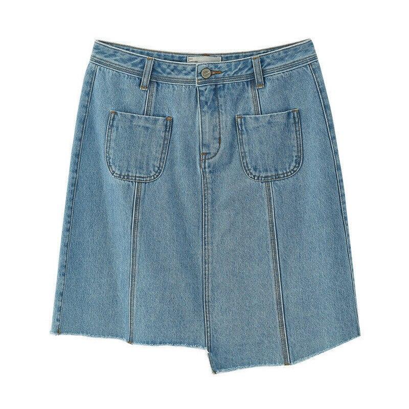 Image 5 - INMAN Summer New Arrival High Waist Slim Korean Fashion Irregular Women Short Jean SkirtSkirts   -