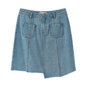 Image 5 - Inman, летняя, новая поставка, с высокой талией, тонкая, Корейская, модная, неравномерная, женская, короткая, джинсовая юбка