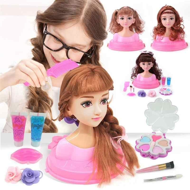 17x18cm Half Body Makeup Hairstyle Doll Cosmetics Head Kid Toys for Children Girls Makeup Training Kids Birthday Christmas Gifts
