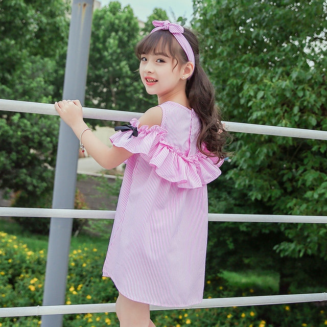 Children's Wear Girl Striped Dress Summer 2019 New Kids Princess Big Boy Little Girl Korean Edition 12 11 10 9 8 7 6 5 year old