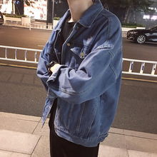 Fashion denim jacket autumn New men Single-breasted loose jeans coats mens Solid color Locomotive denim jacket Washed jacket Top cheap Thin (Summer) Single Breasted vintage Outerwear Coats Casual Jackets COTTON Turn-down Collar REGULAR NONE Conventional