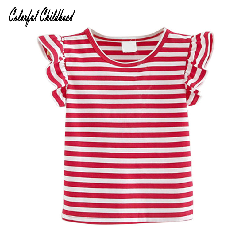 Summer girls   shirt   red/blue white stripe sailor style princess girls   blouse   ruffles lace children tops toddler girls clothing