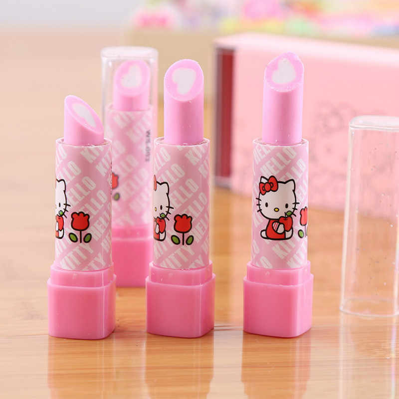 2760251c9 Kawaii Hello Kitty Pattern Lipstick Design Student Eraser Cute Rubber  Office School Supplies For Children Stationery