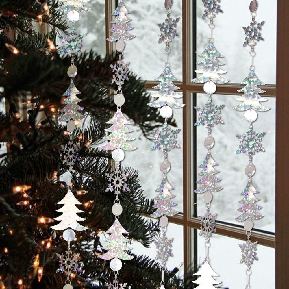 Galleria fotografica Confezione da 1 pz Felice Nuovo Anno Decorazioni Di Natale 1.8 m Glitter Argento Fiocco di Neve Appeso Ghirlande di Natale Festival Decorazioni Per La Casa