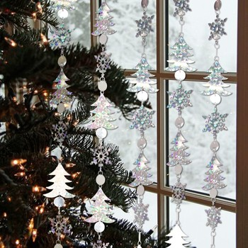 Opakowanie 1pc szczęśliwego nowego roku ozdoby choinkowe 1 8M brokatowe srebrne śnieżynka girlandy do zawieszenia Xmas Festival dekoracje domu tanie i dobre opinie Snowflake paper garlands SUNBEAUTY Christmas Decorations Christmas Decorations for home Merry Christmas Happy new year
