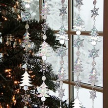 Pack Of 1pc Happy New Year Christmas Decorations 1.8M Glitter Silver Snowflake Hanging Garlands  Xmas Festival Home