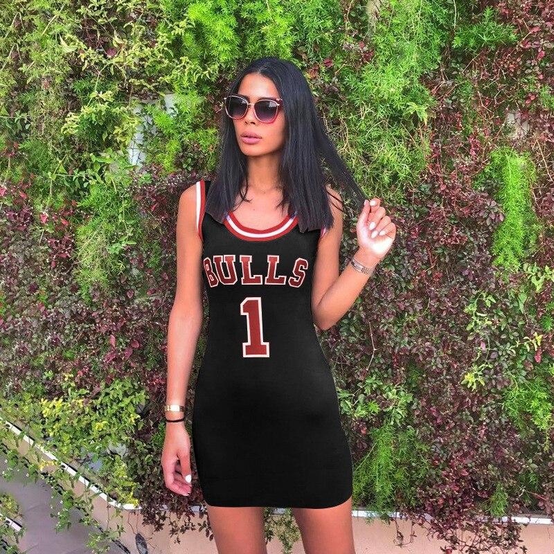 Women Bulls Letter Print Dress 2019 Summer Ladies Sexy Club Wear Mini Dress Sleeveless Round Neck Bodycon Dresses