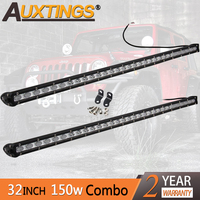 Auxtings 32'' inch 150w LED Work Light Bar Super Mini Slim Single Row Led Bar Flood Spot SUV OffRoad Bar 12V 24V for Jeep 4X4