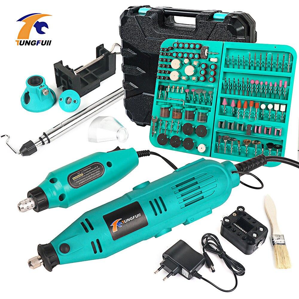 Tungfull furadeiras elétricas mini máquina de perfuração para trabalhar madeira broca mini máquinas de polimento ferramentas rotativas velocidade variável 110 v/220 v