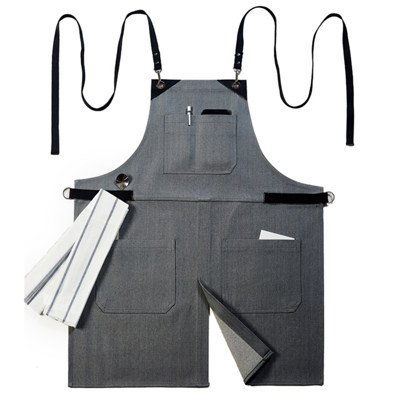 Gray Black Denim Apron Cotton Strap Barista Bartender Pastry Baker Chef Uniform Florist Painter Barber Hairdresser