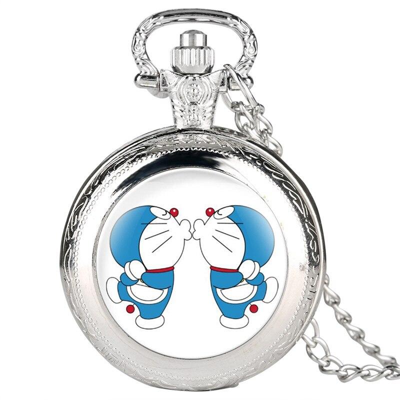Fine Chain Pocket Watch for Kids Doraemon Pattern Quartz Pocket Watch for Students Quartz Pocket Watch Analog Pendant