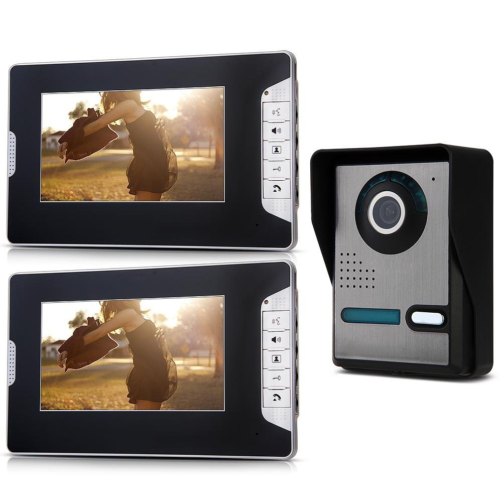 7 couleur TFT-LCD 2 portes IR visiophone sonnette interphone7 couleur TFT-LCD 2 portes IR visiophone sonnette interphone