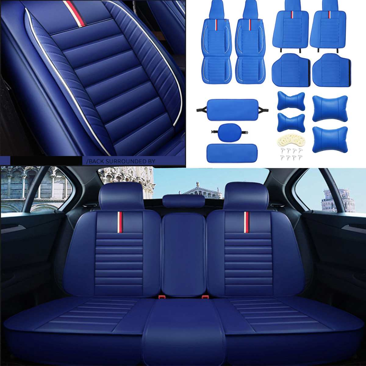 Universal Car Seat Covers Set PU Leather Front & Rear Seat Cushion Headrest Sets For All 5 Seats Car Interior Accessories