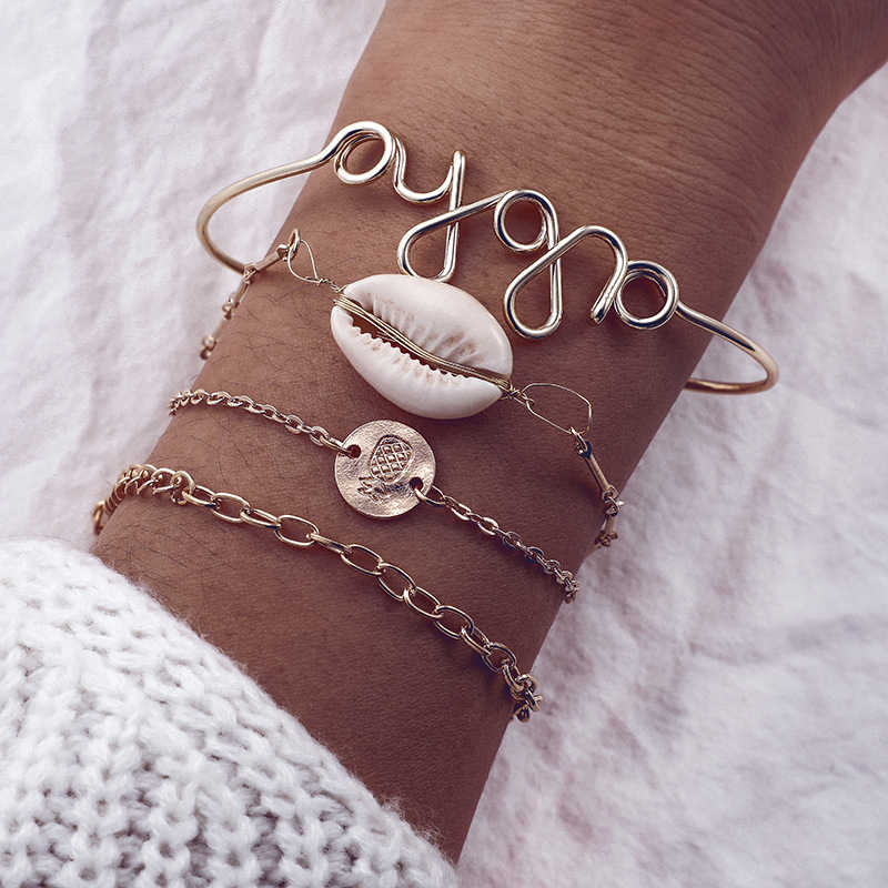 Czeski liny bransoletka zestaw dla kobiety Shell gwiazda faliste geometryczne koralikami wisiorek łańcuch metalowy regulowany złoty charm bransoletka biżuteria