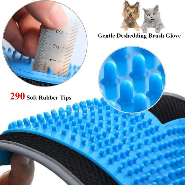 HOT-Pet Grooming Glove, 290 Soft Tips Gentle Pet Hair Remover Glove for Dog and Cat with Long and Short Fur, 3-in-1 Efficient