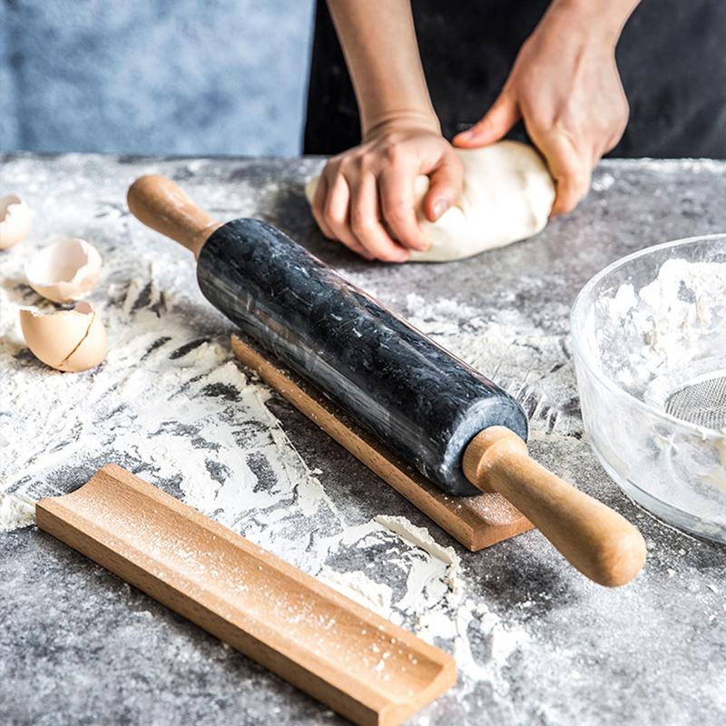 Natural Marble Stone Rolling Pin With Wood Handles Wooden Base Home Kitchen Baking Tools 45cm/48cm
