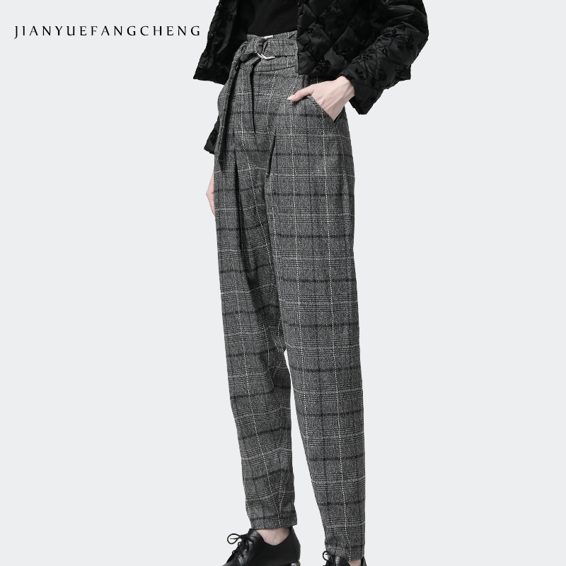 A Más De Lana Cintura Fajas Tamaño Harén Cuadros Pantalones 2018 Alta Plaid Calientes Gran Streetwear Las Mujeres Invierno Señoras vvYrwq