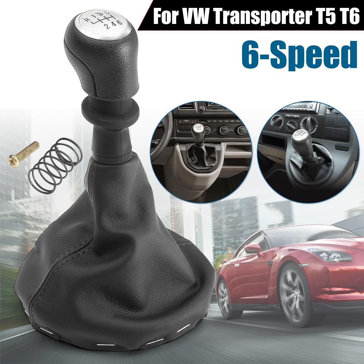 6 Speed Gear Stick Shift Knob Frame Boots For VW /Transporter T5 T6 #161412 Black メンズ 時計 ゼニス