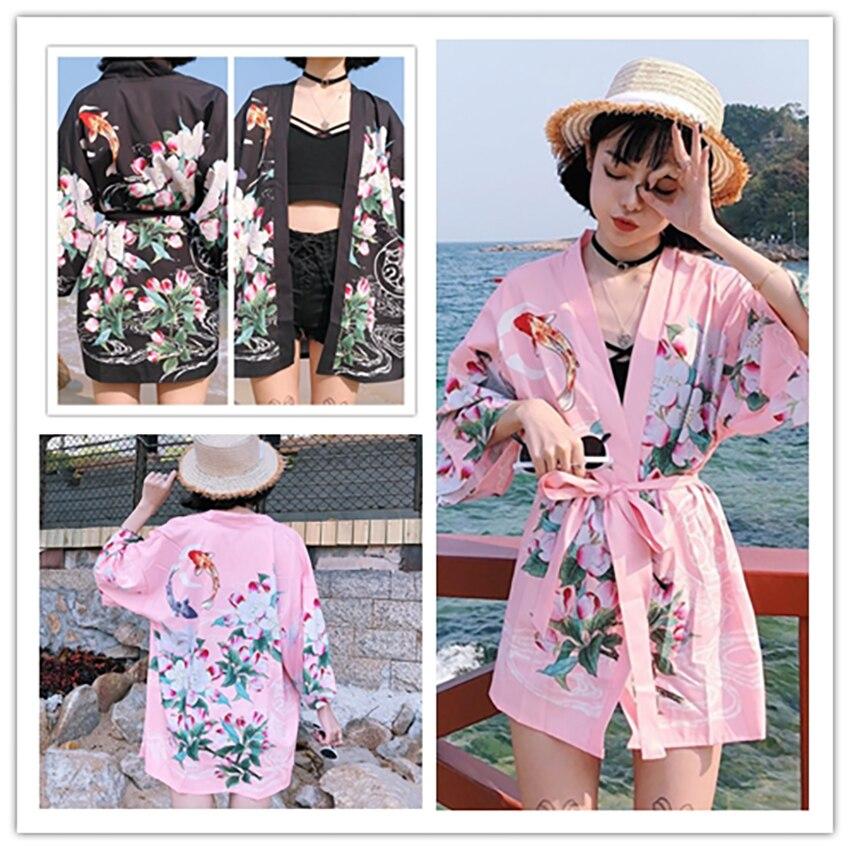 Harajuku Cardigan Flora Goldfish Haori Japanese Style Kimono Yukata Women Jacket Men Asian Clothes Party Streetwear Fancy