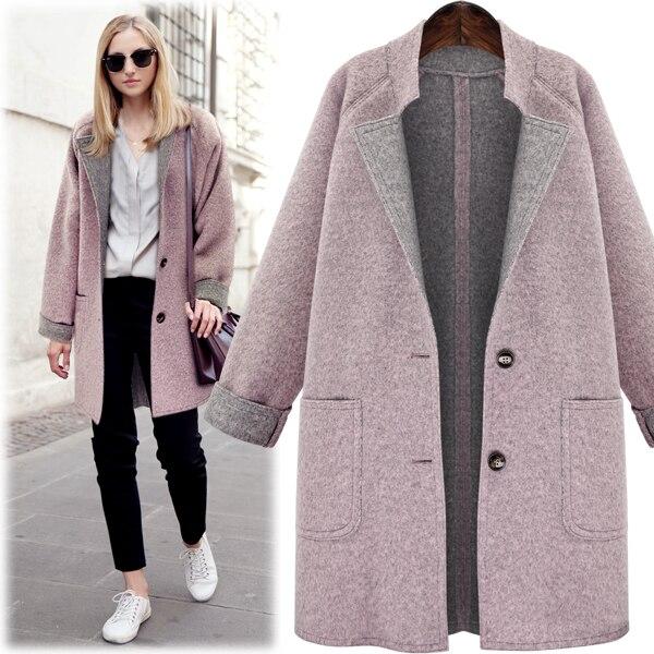 2019 autumn women's fashion large size loose outerwears jackets female spring vintage plus size Wool Blends woolen   coat   4XL