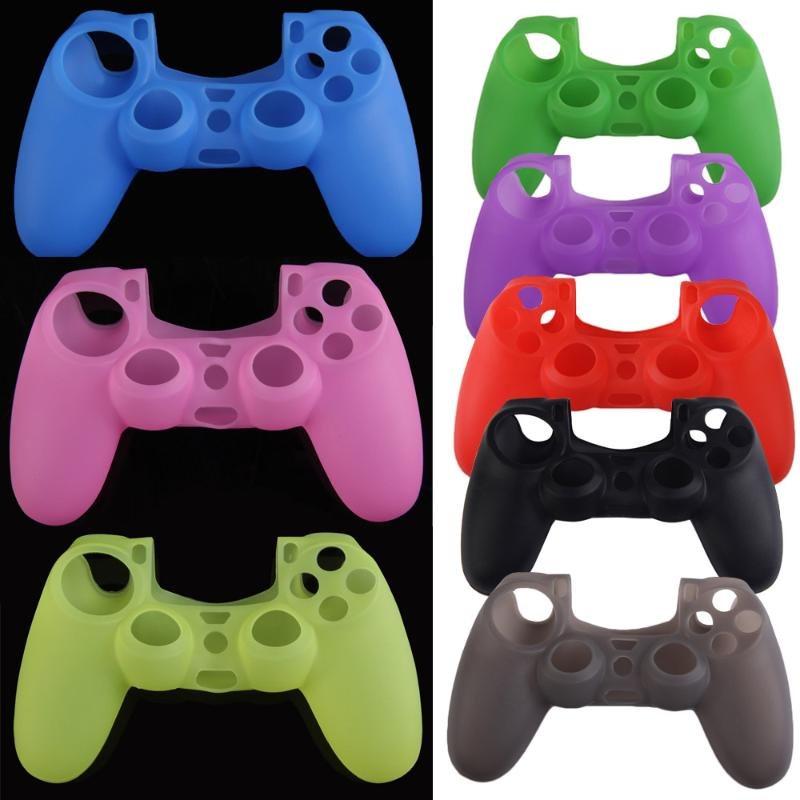 Silicone Rubber Soft Skin Cover Case Protective Sleeve Case For PS4 Controller Grip Handle Blue