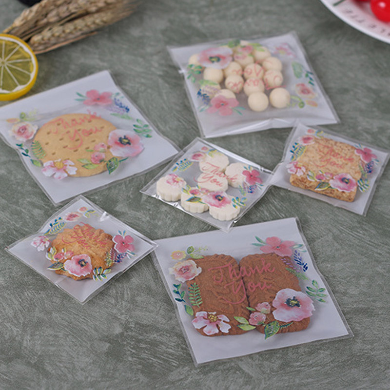 100pcs/pack Self Adhesive Cookies Candy Bags Flower Pattern Biscuits Snack Packaging Bag Wedding Party Gift Bag DIY Handmade