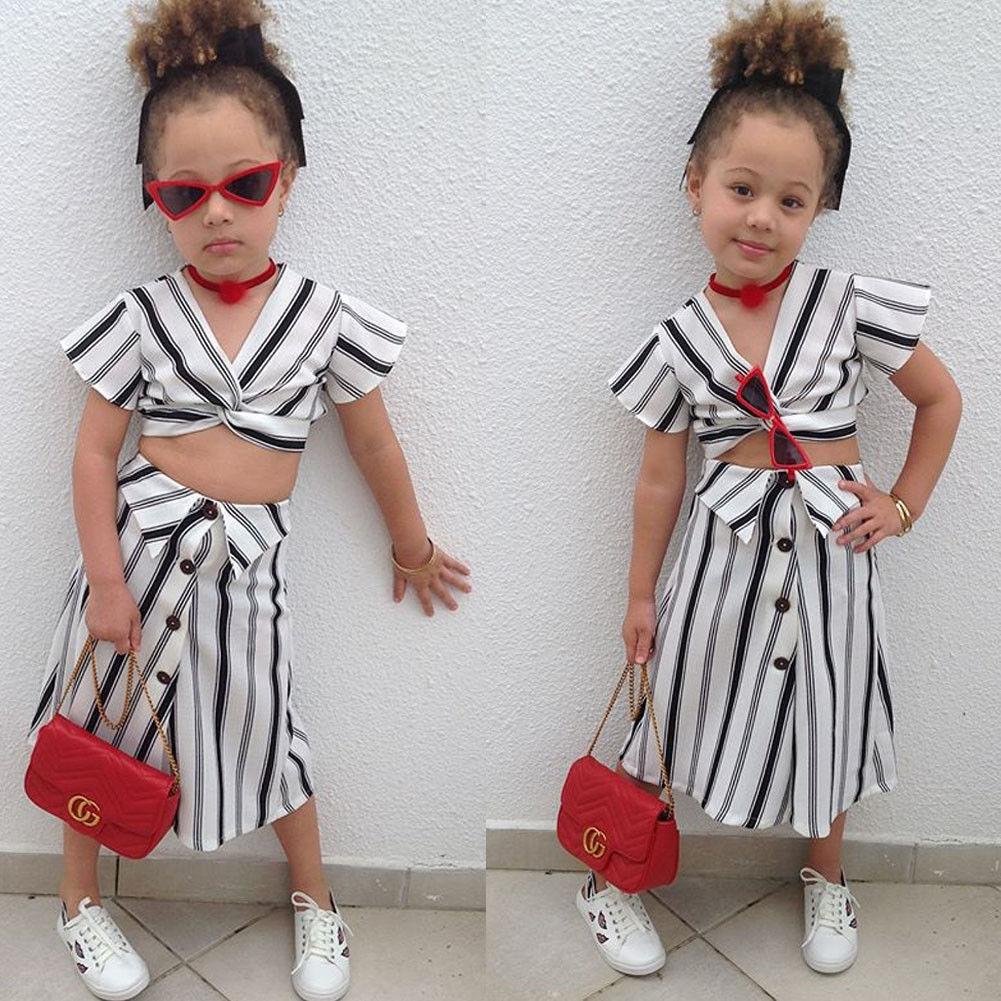 2 Stück Streifen Kurzarm Top Und Tasten Decor Rock Für Kleinkind Mädchen Sommer Outfit StäRkung Von Sehnen Und Knochen