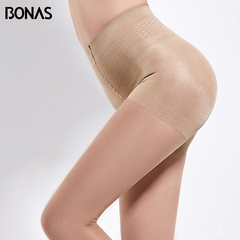 BONAS 6pcs/lot 40D High Waist Black Tights Women Summer Panty Thin Pantyhose Solid Stockings Polyester Tight Sexy Female Collant