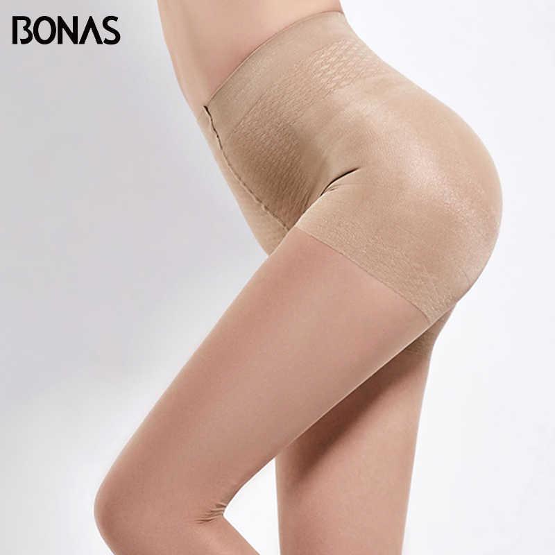 Bonas 6 ピース/ロット 40Dハイウエスト黒タイツ女性夏パンティ薄型無地ストッキングポリエステルタイトなセクシーな女性collant