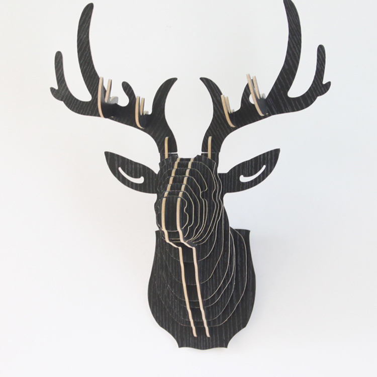 Wooden Deer Head 3D Animal  Art Model Home Office Wall Hanging Decoration Storage Holders Racks Gift Craft Home DecorWooden Deer Head 3D Animal  Art Model Home Office Wall Hanging Decoration Storage Holders Racks Gift Craft Home Decor