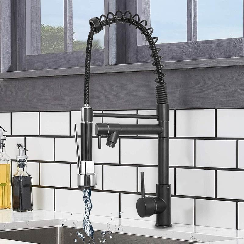 Ressort noir retirer 360 Rotation robinet de cuisine robinet d'eau poche double bec cuisine sortie d'eau mélangeur robinets côté pulvérisateur